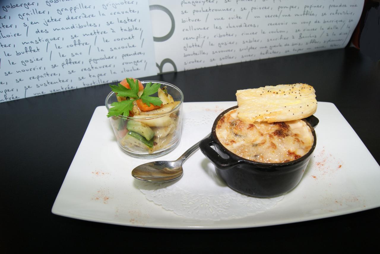Cassolette de fruits de mers et St Jacques cremées au Noilly Pratt.
